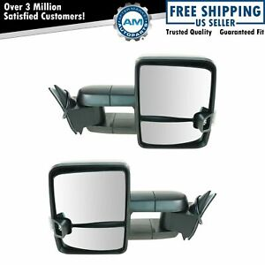 Tow Mirror Power Smoked Signal Led Spotlight Black Pair Set For Gm Truck New