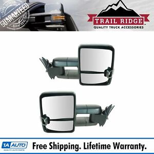 Trail Ridge Tow Mirror Power Smoke Signal Led Spotlight Black Pair For Gm Truck