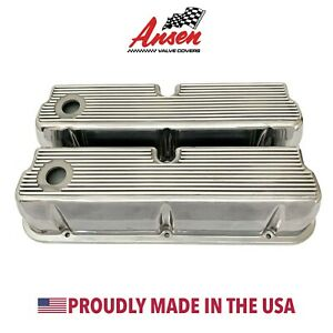 Ford 289 302 347 351 Windsor Valve Covers Tall Finned Polished Ansen Usa