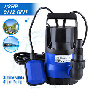 1 2 Hp 2112gph Submersible Water Pump Swimming Pool Dirty Flood Clean Pond 400w