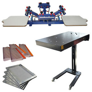 4 Color 2 Station Screen Printing Press Flash Dryer Aluminum Frame Squeegee Kit