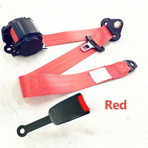 Red 3 Point Retractable Car Safety Seat Belt W curved Rigid Buckle