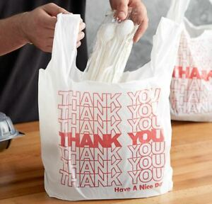 Thank You To Go Bags 22 X 12 X 6 1 2 White Plastic Shopping Bags 1 6 Bags