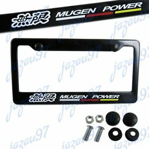 X1 Jdm Mugen Black Abs License Plate Frame With Caps For Honda Civic Fit Acura