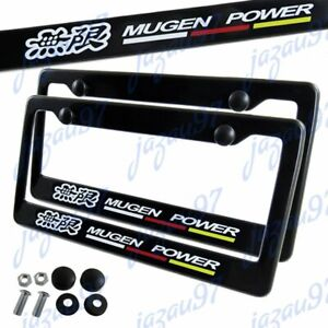 2pc Jdm Mugen Black Abs License Plate Frame With Caps For Honda Civic Fit Acura