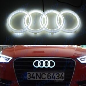 Led Emblem X1 For Audi Chrome Grille Front Hood A1 A3 A4 A5 A6 A7 Q3 Q5 Q7 White