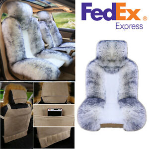 Universal Genuine Australian Sheepskin Fur Car Single Front Seat Cover Us Stock