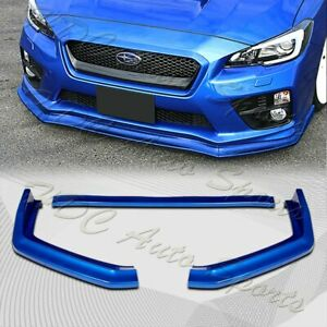For 2015 2020 Subaru Wrx Sti Cs Style Painted Blue Front Bumper Body Lip 3pcs