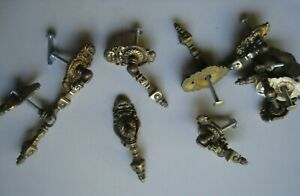 1 Vintage Solid Brass Drop Pull Handles With Back Plates Drawers Cabinets