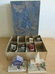 Antique Dolly Toy Co No 200 Christmas Village Cardboard Snow Houses With Box