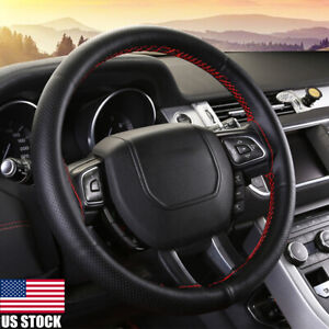 Car Truck Leather Steering Wheel Cover With Needles And Thread Black Red Us