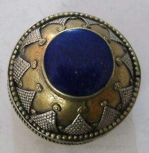 A Round Snuff Or Pill Box With Decoration On Top Around Set With A Lapis Stone