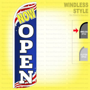 Now Open Windless Swooper Flag 3x11 5 Ft Feather Banner Sign Patriotic Bq