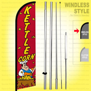 Kettle Corn Windless Swooper Flag Kit 15 Feather Banner Sign Rf h