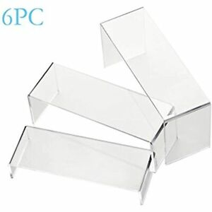 6 Pack Clear Acrylic Display Risers Showcase Shoe Retail Stand Cupcake Dessert