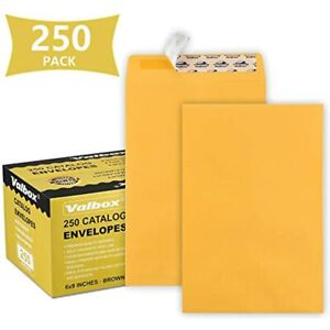 6x9 Self Seal Catalog Security Envelopes 250 Count Small Brown Kraft Mailing