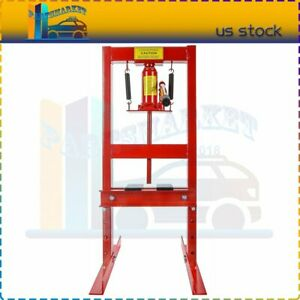 6 Ton H Frame Press Plates Hydraulic Jack Stand Equipment Shop Press Floor Red