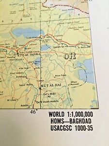 1 Large Rare Vintage Us Army Topographic Wall Map Baghdad Homs 1960 S 36 X 48