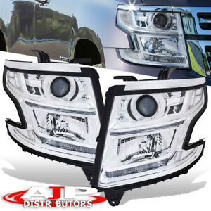 Chrome Clear Head Lights Lamps Drl Led Left Right For 2015 2020 Tahoe Suburban