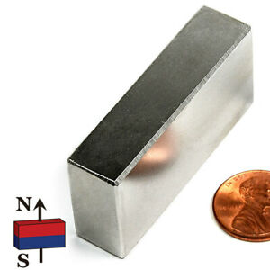 3 Pc Super Strong N42 Neodymium Magnet Block 2 X 1 2 X 1 Rare Earth Magnets