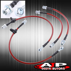 Front Rear Red Stainless Steel Oil Brake Line Cable Black For 1993 2002 Corolla