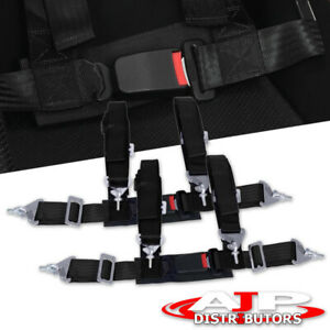 Pair Of 4 Point Harness Racing Seat Belts Black For Honda Civic Del Sol Crx