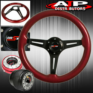 Quick Release For 90 93 Integra Red Wood Black Center Deep Dish Steering Wheel