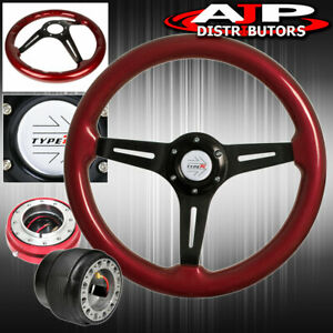 Red Thin Quick Release Red Wood Black Center Steering Wheel For 90 93 Integra