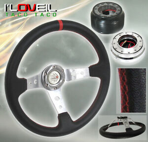 96 00 Civic Red Stitching Steering Wheel Chrome Short Quick Release adapter Hub
