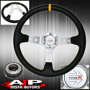 Jdm Black Yellow Stitch Steering Wheel Silver Quick Release Type R Horn Button