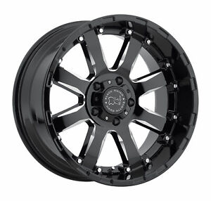 Black Rhino Sierra 17x9 5x127 12mm Gloss Black 4 Wheels Free Lug Nuts