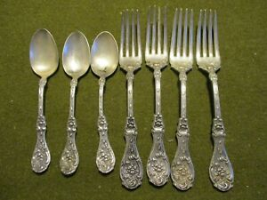 7 Silver Plate Wm A Rogers 1908 Glenrose Pattern Forks Spoons Craft Grade Lot