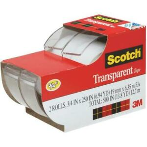 Scotch Tape 3m Clear Transparent Office Tape 2 Rolls 3 4 X 250 W Dispenser