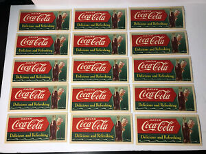 1951 COCA COLA INK BLOTTERS SPRITE BOY ADVERTISING CARD LOT (15) Dealer Lot
