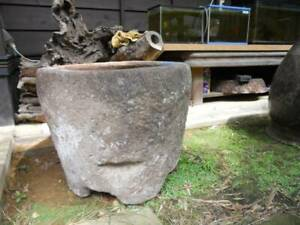 Antique Retro Natural Stone Mortar Water Bowl Japanese Garden Draper Store
