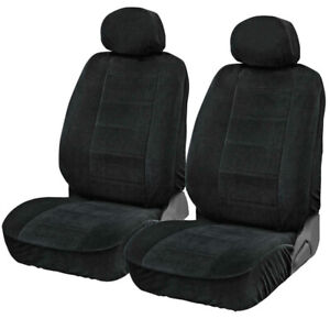 Encore Velour Car Seat Covers Front Bucket Seats 4pc Black