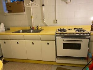 Midcentury American Kitchen Avco Steel Cabinets Kenmore Stove And Breadbox