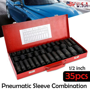 35pcs 1 2 Deep Impact Socket Set Drive 8 32mm Metric Garage Sae With Case Black