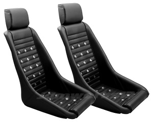 Retro Classic Kpgc10 Vintage Racing Bucket Seats perforated W Grommets Pair