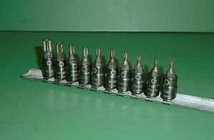 Lot Set Of 10 Mac Tools Special Edition Chip Foose 1 4 Drive Safety Torx Sockets