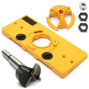 Hinge Hole Saw Jig Drilling Guide Locator Hole Opener Cabinets Woodworking Tool