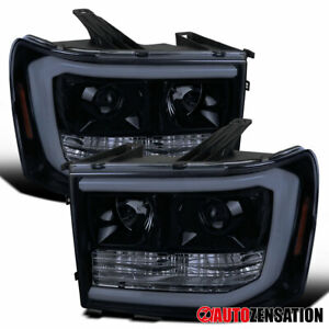 For 2007 2013 Gmc Sierra 1500 2500 Hd Glossy Black Led Drl Projector Headlights