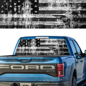 Rear Window Graphic Decal Pick Up Truck American Flag B W Distressed