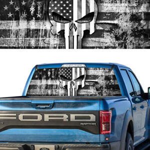 Rear Window Graphic Decal Pick Up Truck American Flag Punisher Skull