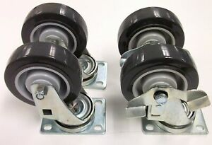 Kason 3 Plate Caster Set Of 2 Swivel And 2 With Brake Capacity 250 Lb Each