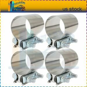 4x 2 5 Stainless Steel Butt Joint Band T 304 Exhaust Clamp New Universal
