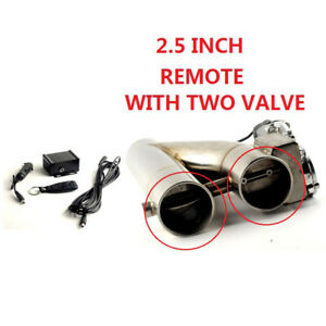 2 5 Inch Doubled Valve Pipe Muffler Cutout Bypass Exhaust Trim Down Tube Remote