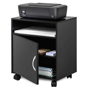 Storage Cabinet Printer Stand With Shelves Rolling Mobile Rack Office Home