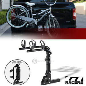 2 Bike Trailer Tow Hitch Mount Bicyle Rack Adjustable Foldable Carrier Kit Gt13