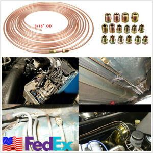 25ft Copper Nickel 3 16 Brake Line Tubing Kit With 16 Pcs Gold Assort Fittings